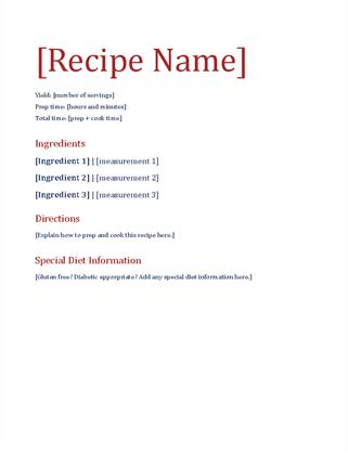 Simple recipe journal