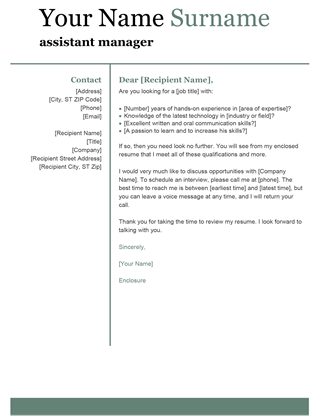 Basic modern cover letter