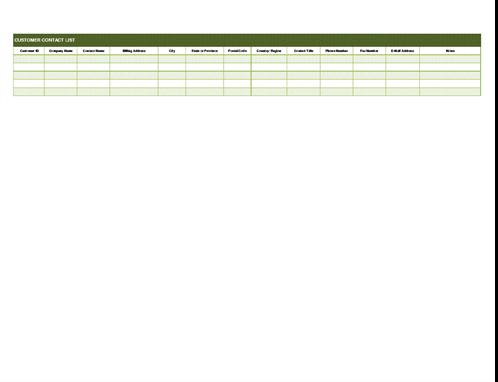 Basic customer contact list