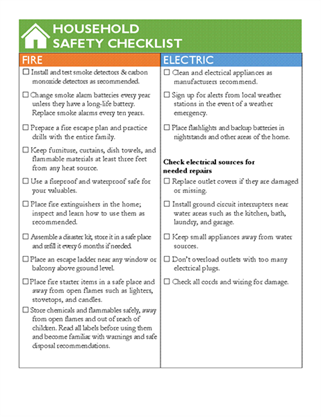 Household safety checklist