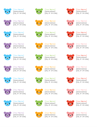 Return address labels (Rainbow Bears design, 30 per page, works with Avery 5160)