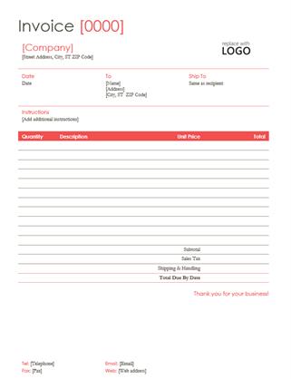 Invoice (Red design)