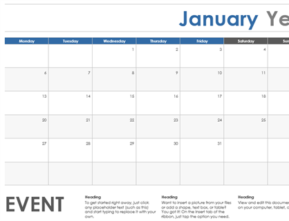 Horizontal calendar (Monday start)