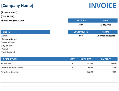 Sales Invoice Simple Blue Design