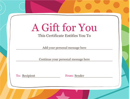 Birthday gift certificate (Bright design)