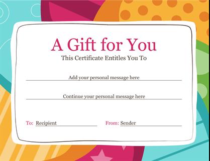 Birthday gift certificate (Bright design)