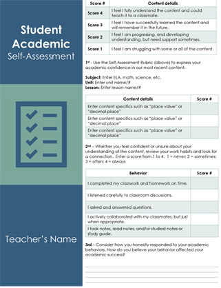 Student academic self-assessment