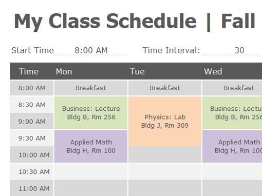 Weekly college schedule Office Templates – Microsoft Timetable Template