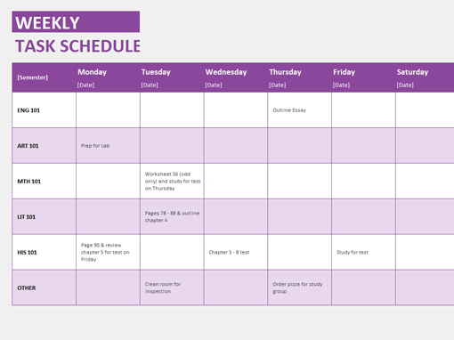 weekly task schedule templates officecom With microsoft office weekly schedule template