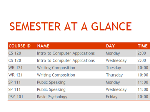 Semester at a glance - Office Templates