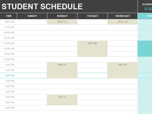 Student schedule office templates for College school schedule template