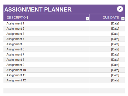Online assignment planner