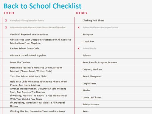 Back to school checklist - Templates - Office.com