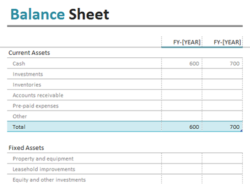 Balance Sheet Templates Office Com