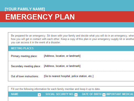 Family emergency plan - Office Templates