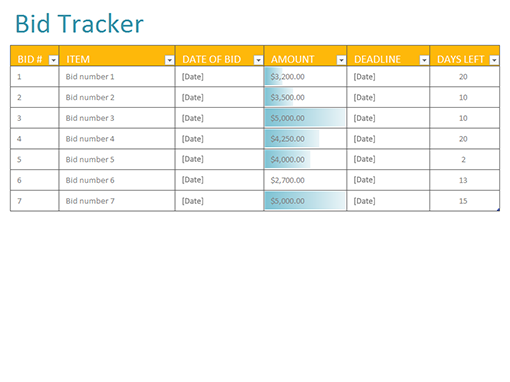 Bid Tracker Templates Office Com
