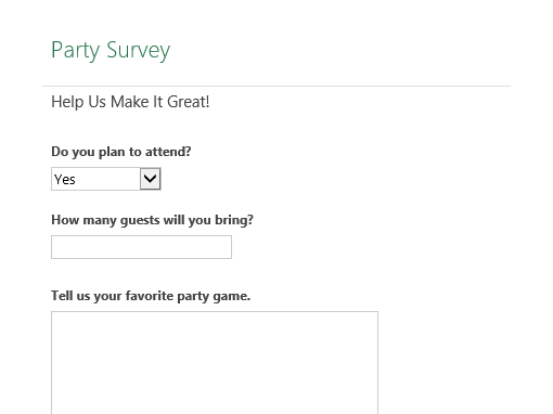 Party planning survey - Office Templates