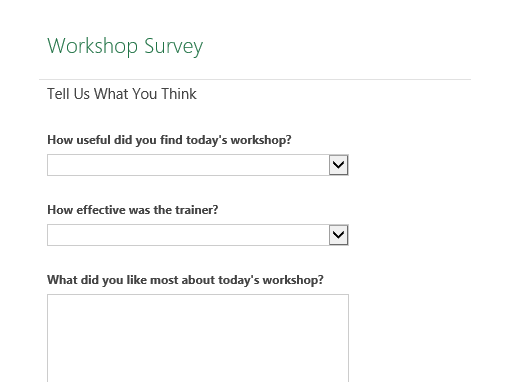 workshop survey form