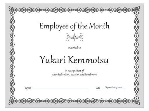 Certificate employee of the month gray chain design templates