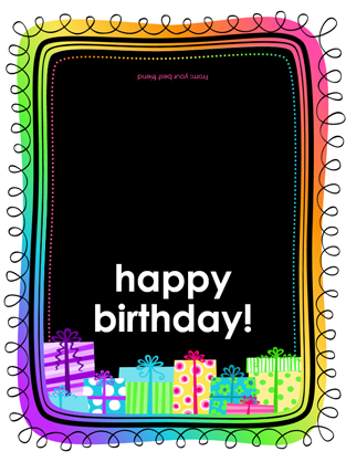 Birthday card (gifts on black background, half-fold)
