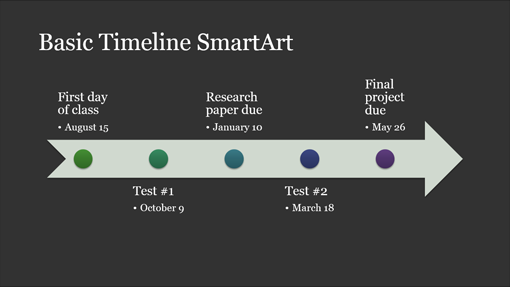 Timelines office timeline smartart diagram slide white on dark gray widescreen toneelgroepblik Image collections