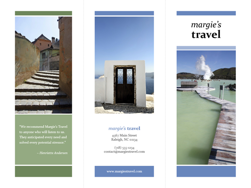 tri fold travel brochure blue green