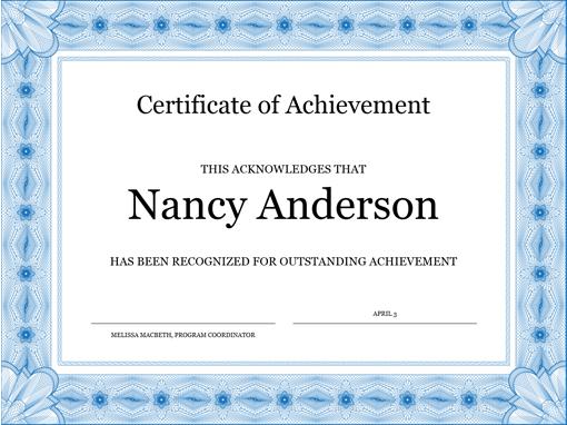 Certificate of achievement (blue) - Office Templates