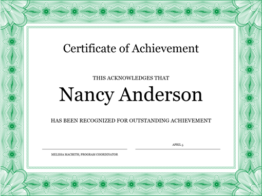 Certificate Of Achievement (green)  Certificate Of Achievement Template