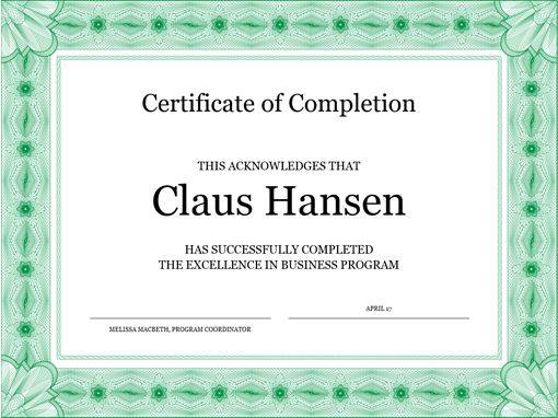 certificate of completion green