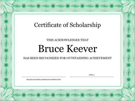 Certificate Of Scholarship (formal Green Border)  Free Certificate Of Achievement