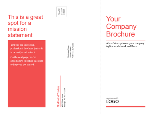 Tri fold business medical brochure red white design for Tri fold brochure template powerpoint