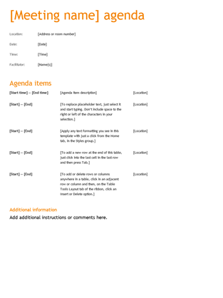 Business Meeting Agenda (Orange Design)  Microsoft Word Meeting Agenda Template