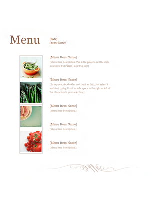 menu templates for word