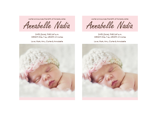 baby girl birth announcement templates
