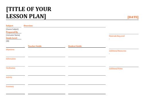 Daily lesson plann (color)