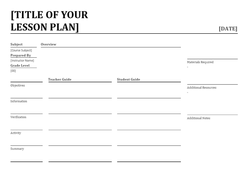 Education Officecom - Templates for lesson plans
