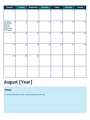 One month academic calendar (Monday start) - Office Templates