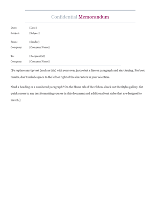 Confidential memo office templates for Microsoft office memo templates free