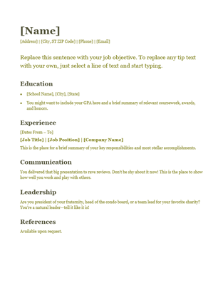 resume green office templates