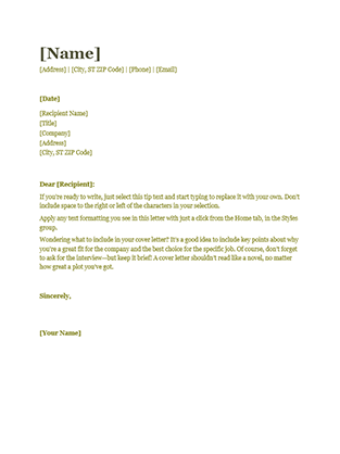 resume cover letter green - Resume Cover Letter Word Template