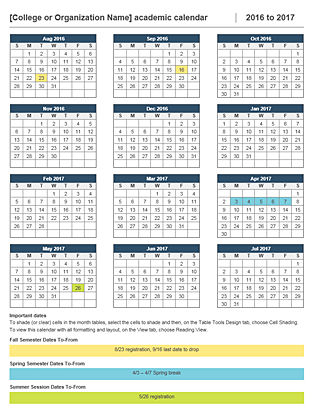 2016-2017 academic calendar - Office Templates