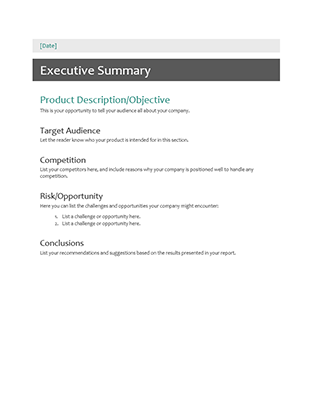 Executive summary office templates executive summary pronofoot35fo Image collections