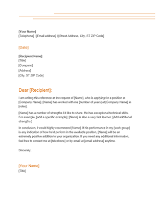 Recommendation Letter Office Templates