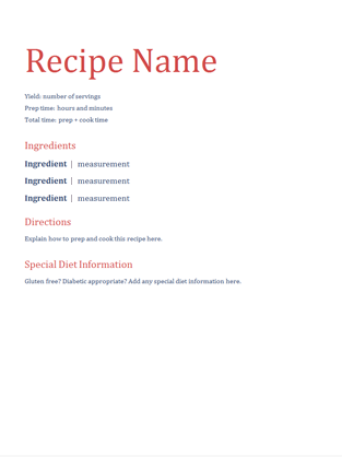 Simple recipe journal - Office Templates