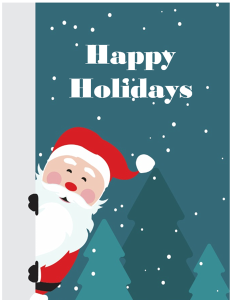 Business holiday greeting card (with Santa, quarter-fold, A2 size)