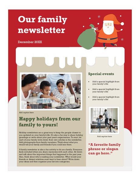 Family christmas newsletter office templates for Christmas newsletter design ideas