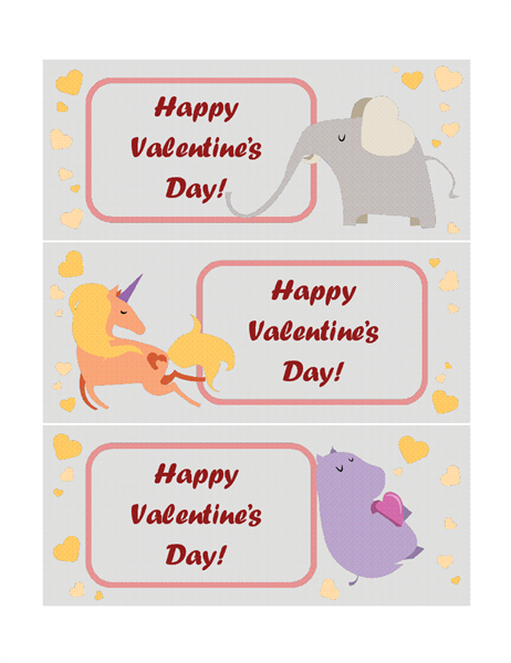 Kids Valentine's Day cards (3 per page)