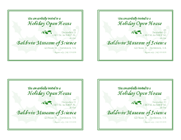 Holiday open house invitation (4 per page)