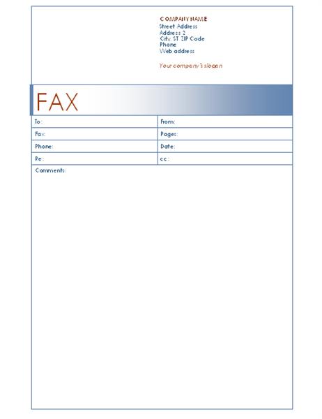 Fax Cover Sheet (Blue Design)  Fax Template For Word