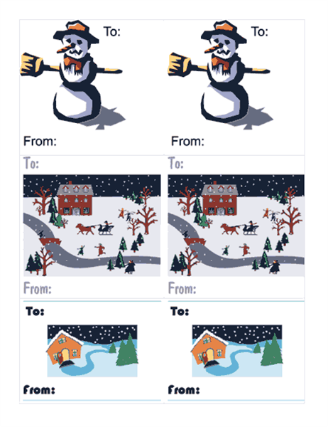 Holiday gift tags (6 per page)